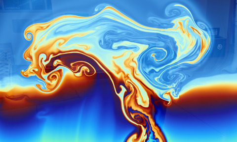 flow exhibit: colored fluid layers